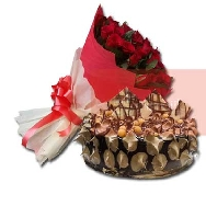 Buy Beautiful Bunch of 40 Rose Flowers and Choco Crunch Cake