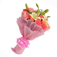 Buy Fresh And Assorted Flower Bunch of Roses Lily Flowers