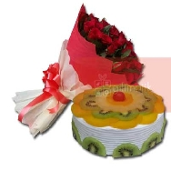 Buy Beautiful Bunch of 40 Rose Flowers and Fresh Fruit Delight Cake