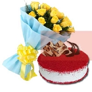 Send-Online-Yellow-Roses-Bunch of 25 flowers-with-half-kg-Red-velvet-Cake