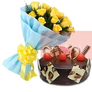 Send-Online-Yellow-Roses-Bunch of 25 flowers-with-half-kg-chocolate-choco-Truffle-cake