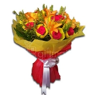 Buy Assorted Bunch Of Lily and Roses