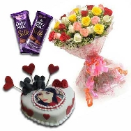 Send Fresh Mix Roses Flower Bunch with designer Photo Cake and two Cadbury Silk Chocolates