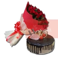 Buy Beautiful Bunch of 40 Rose Flowers and Choco Vanilla Cake
