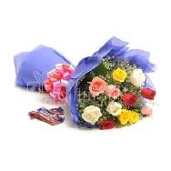 Send 12 Mix Roses bunch With Chocolates