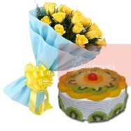 Send-Online-Yellow-Roses-Bunch of 25 flowers-with-half-kg-Fresh-Fruit-Delight-cake