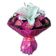 Buy Beautifully Arranged Bunch of lily and Carnation